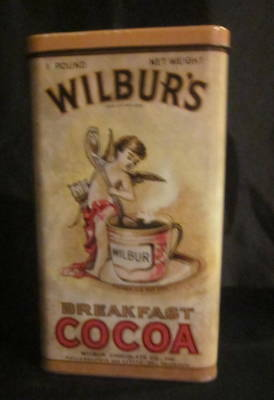 Vintage Advertising Tin Wilbur's Breakfast Cocoa Chocolate Cherub Damer NY