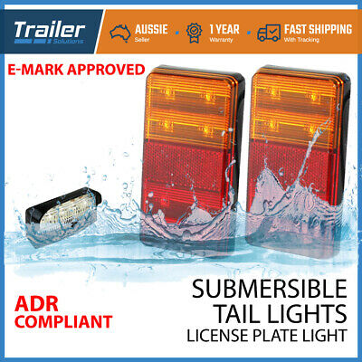 Marine Trailer Pair Of Lights + Numer Plate Light Kit Submersible Led Boat