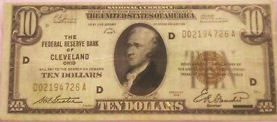 1929 $10 National currency Reserve Bank of Cleveland Ohio
