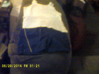 """Grey Sleeveless """"T"""" Shirt with Navy Blue Nike Shorts with grey  side piping SZ S"""