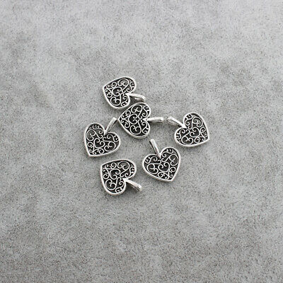 20pcs Antique Silver Peach Heart Flower Charms Pendants For Jewellery Making