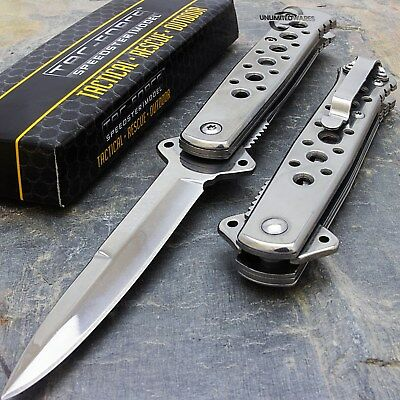 "7"" STILETTO TAC FORCE SILVER TACTICAL FOLDING POCKET KNIFE Blade Assist Open"