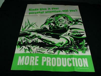 Vintage Genuine Original WWII WW2 1940's Large Poster More Production 39 x 28