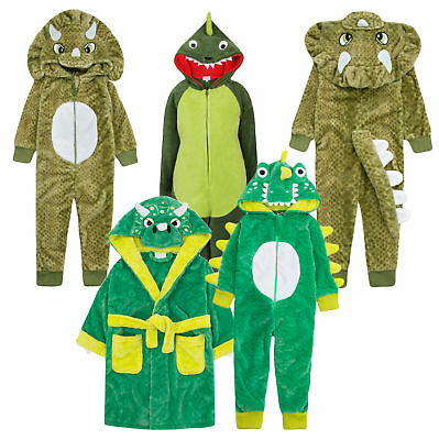 Boys 3D Dinosaur Hooded Dressing Gown Bath Robe Dino Onezee Dress Up Gift