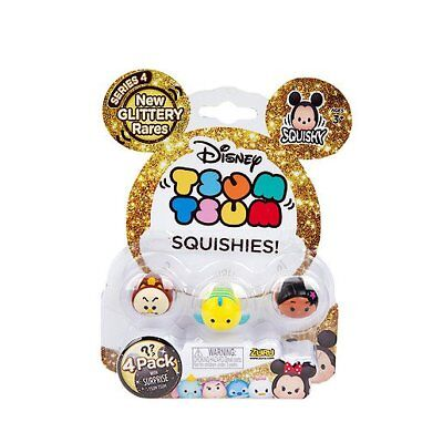 Disney Glittery Tsum Tsum Squishies 4 Pack with Surprise Glitter Rares Sum Sum
