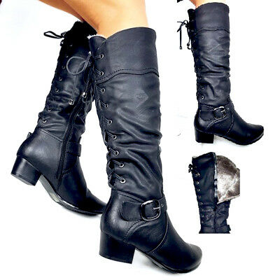damen biker boots warm gef tterte stiefel nieten. Black Bedroom Furniture Sets. Home Design Ideas