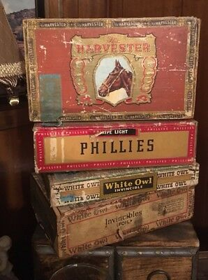 VINTAGE LOT OF 4 USED CIGAR BOXES TOBACCIANA White Owl Phillies USA