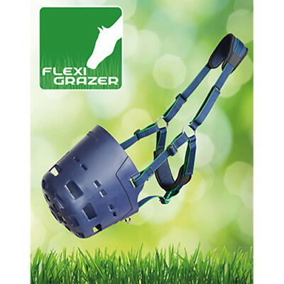 Shires Flexi Grazer Unisex Horse Healthcare Grazing Muzzle - Navy All Sizes