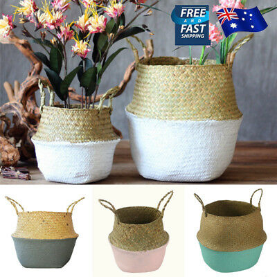 AU Seagrass Flowers Belly Basket Storage Plant Pot Laundry Fruits Bags Foldable