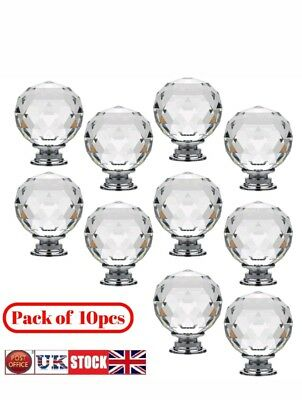 10Pcs Door Knobs Handles Clear K9 Crystal Glass Cupboard Drawer Cabinet Kitchen