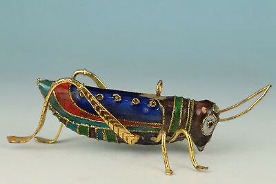 chinese Copper Cloisonne Painting Locusts Figure Statue