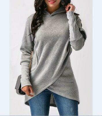 Women Long Sleeve Hooded Asymmetric Hem Wrap Hoodie Sweatshirt Outwear Tops US