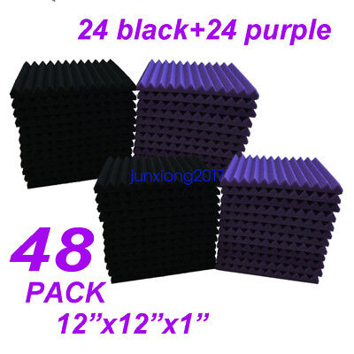 48 Pack Black/purple Acoustic Wedge Studio Soundproofing Foam Wall Tiles 12x12x1