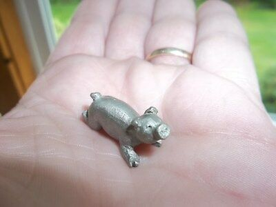 "Vintage Miniature Pewter Pig Figure 1/2"" Tall"