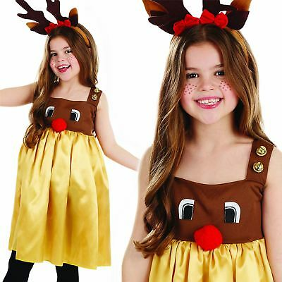 Girls Rudolph Reindeer Costume Childs Christmas Fancy Dress Party Xmas Outfit  sc 1 st  PicClick UK & GIRLS RUDOLPH Reindeer Costume Childs Christmas Fancy Dress Party ...