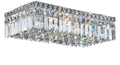 Glam Art Deco Style 20-inch Rectangle Shape 4-light Chrome Canopy And Cluster