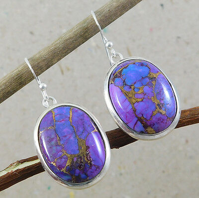 """925 Silver 10.4g Genuine Purple Copper Turquoise Gorgeous Earring 1.4"""" M3E631"""