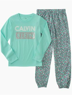 calvin klein girls 2-piece logo animal print sleep set underwear