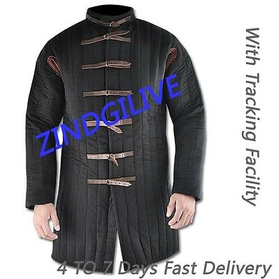 100% Pure Cotton Thick Black Gambeson With Padded Collar for Christmas Gift