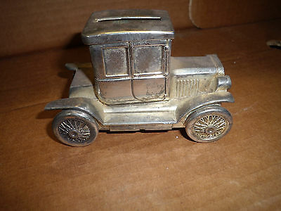 "SILVER PLATED car FORD MODEL T COUPE vintage/antique/old MONEY BOX 4.5""×2""×2.75"""