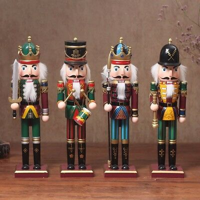 set of 4 christmas decoration wooden soldier prince nutcracker crown 12 inch - Christmas Decorations Wooden Soldiers