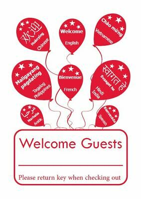 """Hotel Keycard Envelope/ Sleeve """" Welcome Guests"""" Red 2-3/8"""" x 3-1/2"""" 1000/Box"""