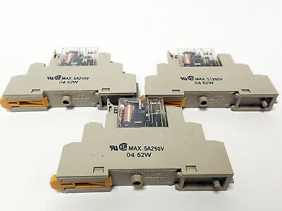 Lot Of 3 Omron G2R-2-Sn Two 120Vac And One 220Vac Relays With Bases