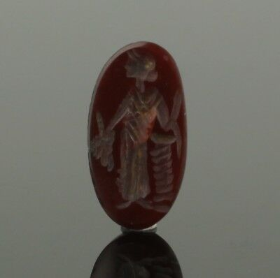 ANCIENT ROMAN GEMSTONE INTAGLIO OF ISIS FORTUNA - CIRCA 2nd/3rd Century AD