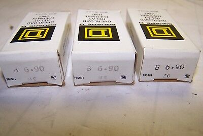 3) New Square D B6.90 Thermal Overload Relay Unit Heaters B 6.90 Lot Of 3