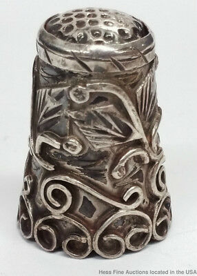 Antique Sterling Silver Repousse Stunning Thimble Sewing Notion Vintage