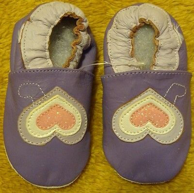 Baby shoes Violet With Pink Heart soft sole leather baby slippers 6-12 Months