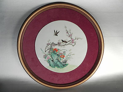 19th Century (or earlier) Chinese Famille Rose Round Plaque Framed