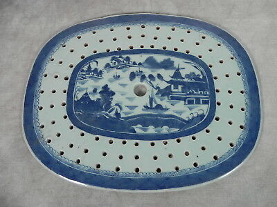 Antique Chinese Canton Blue and White Pierced Liner