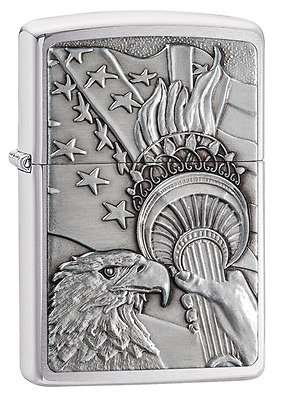Zippo Something Patriotic Lighter Brushed Chrome 20895