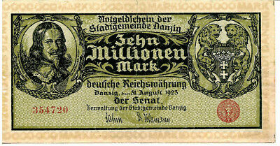 DANZIG Gdansk (Poland Germany) 10Mil Mark 1923 P25a Inflation Banknote RARE