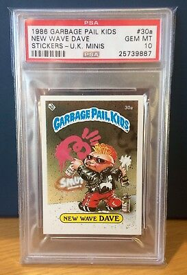 New Wave Dave 30a Garbage Pail Kids UK Series 1(1985)PSA 10 GEM~POP 3 ~VERY RARE