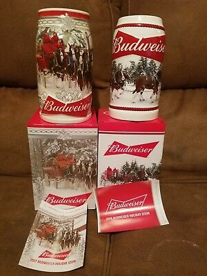2016 2017 Budweiser Holiday Retreat Christmas Beer Stein Clydesdales NEWEST