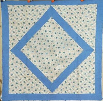 CLASSIC Vintage 30's Blue & White Diamond in a Square Antique Quilt ~MINT COND!