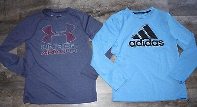 Under Armour And Adidas L/s Dri Fit Athletic Shirts Size 8