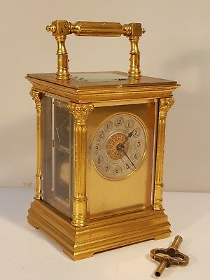 SMALL MASK DIAL ANTIQUE FRENCH STRIKER CARRIAGE CLOCK  c.1890