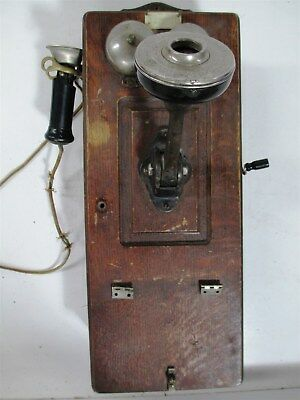 Antique Wooden Wall Crank Phone Chicago Telephone Supply Elkhart - Parts Repair