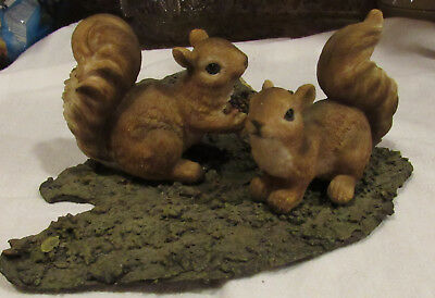 Vintage 2 Squirrels mounted on Ground GRASS LOOK  Decorative HOMCO