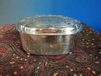 Antique Oval Jewelry Box Derby Silverplate Victorian Era