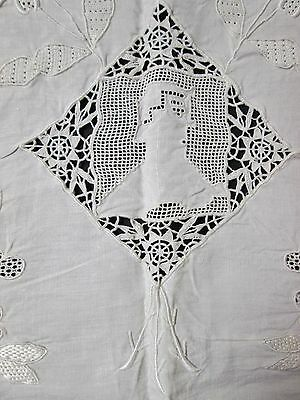 SPECTACULAR Lay Over Pillow Sham Cherubs G L Monogram Hand Wrought Lace Insets