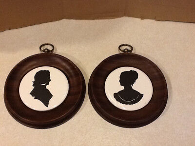 Vintage Pair of Silhouettes in Small Round Metal Frames
