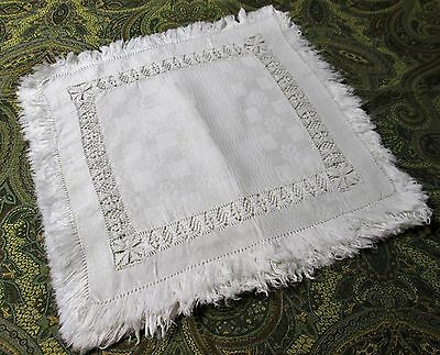 Antique Fringed Linen Damask 6 Napkins Tenerife Lace Insets Snowy White