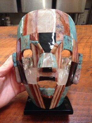 Mayan Death Mask Turquoise Mother of Pearl Onyx Abalone Burial Mosaic Sculpture