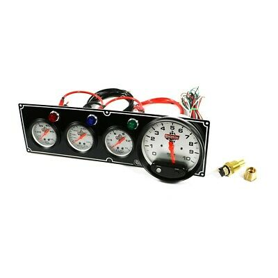 QuickCar 61-6742 Silver Face Gauge Panel Fuel / Oil Pressure Water Temp W/ Tach