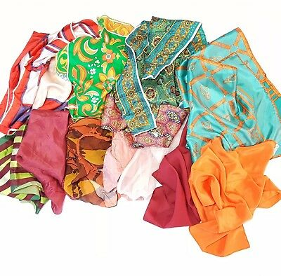 Lot of Scarves Vintage Retro Assorted as Shown May Incl Silk Sheer Poly Nylon a