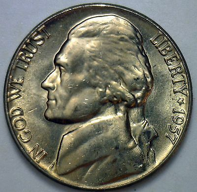 1957 Jefferson Nickel Uncirculated Five Cents BU Coin 5c #R